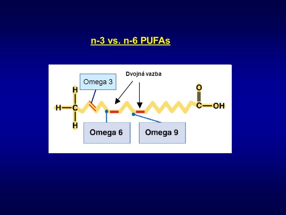 n-3 vs. n-6 PUFAs Dvojná vazba Omega 3
