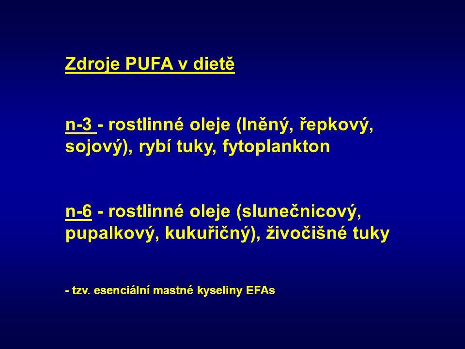 Zdroje PUFA v dietě n-3 - rostlinné oleje (lněný, řepkový, sojový), rybí tuky, fytoplankton.