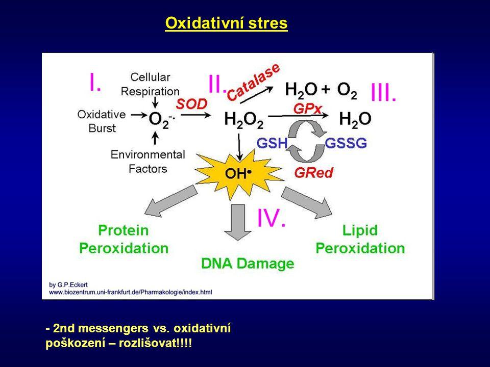 Oxidativní stres - 2nd messengers vs. oxidativní poškození – rozlišovat!!!!