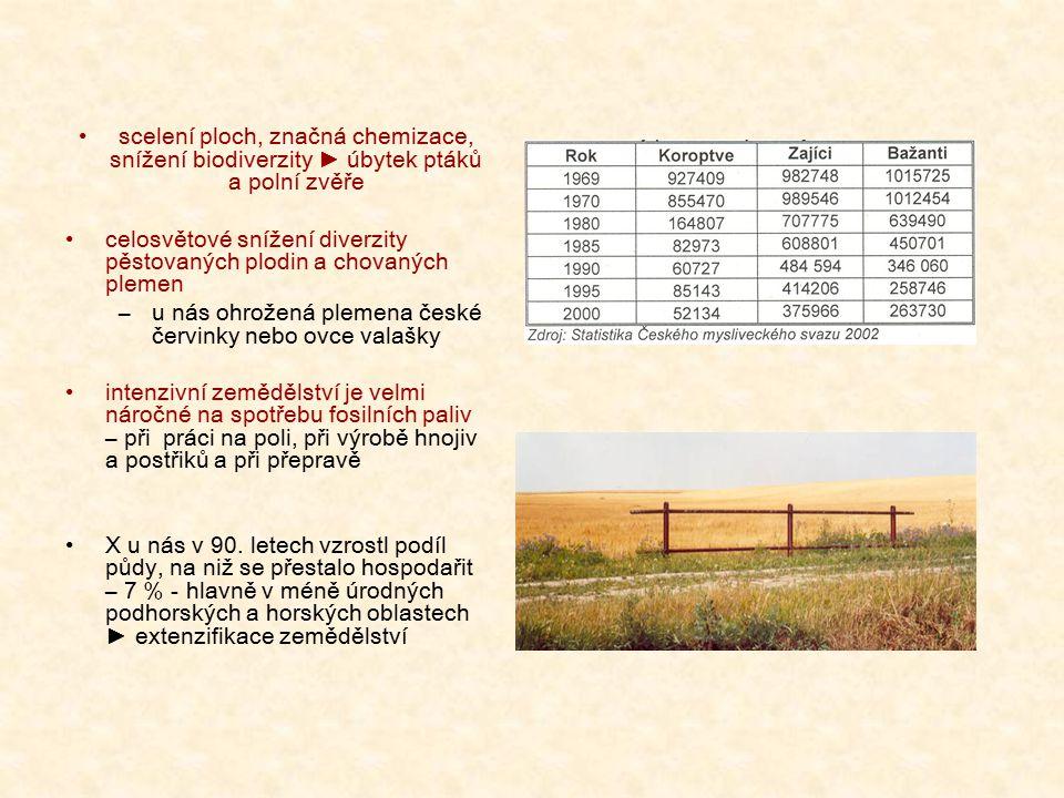 scelení ploch, značná chemizace, snížení biodiverzity ► úbytek ptáků a polní zvěře