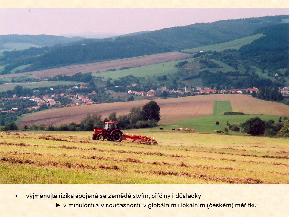 vyjmenujte rizika spojená se zemědělstvím, příčiny i důsledky