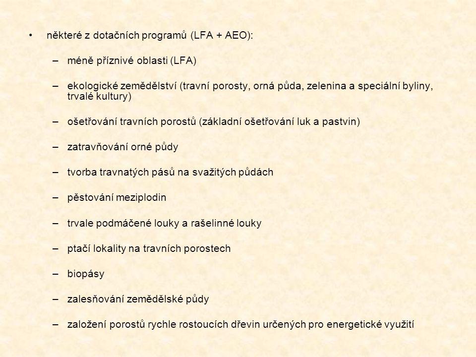 některé z dotačních programů (LFA + AEO):