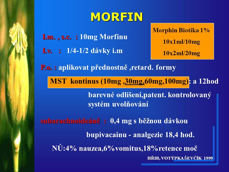 MORFIN I.m. , s.c. : 10mg Morfinu I.v. : 1/4-1/2 dávky i.m