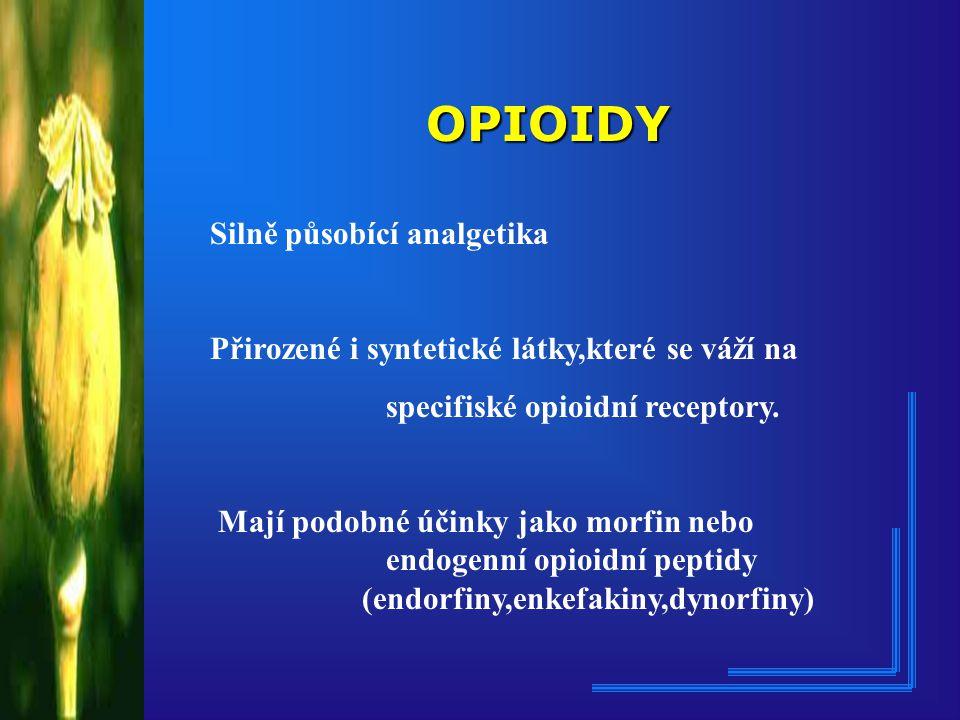 OPIOIDY Silně působící analgetika