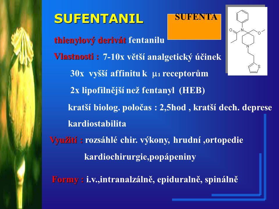 SUFENTANIL SUFENTA thienylový derivát fentanilu