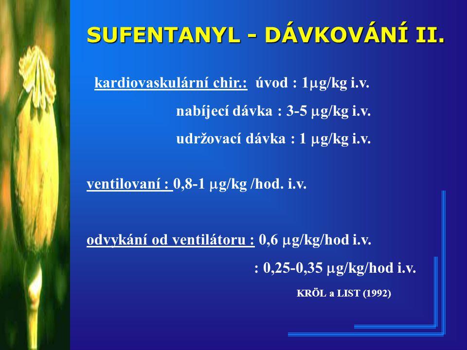 SUFENTANYL - DÁVKOVÁNÍ II.