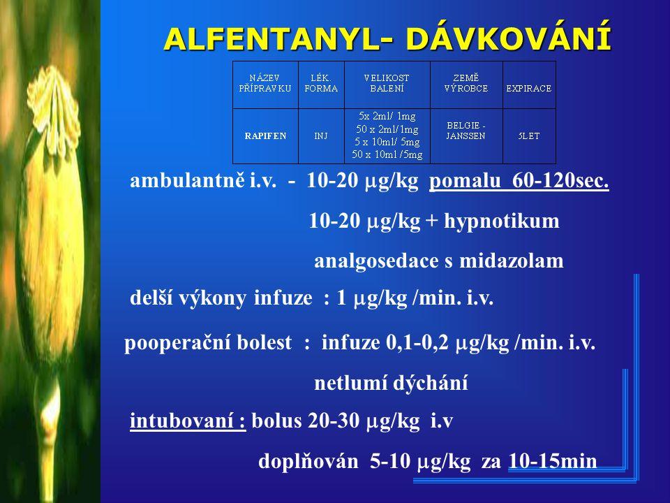 ALFENTANYL- DÁVKOVÁNÍ