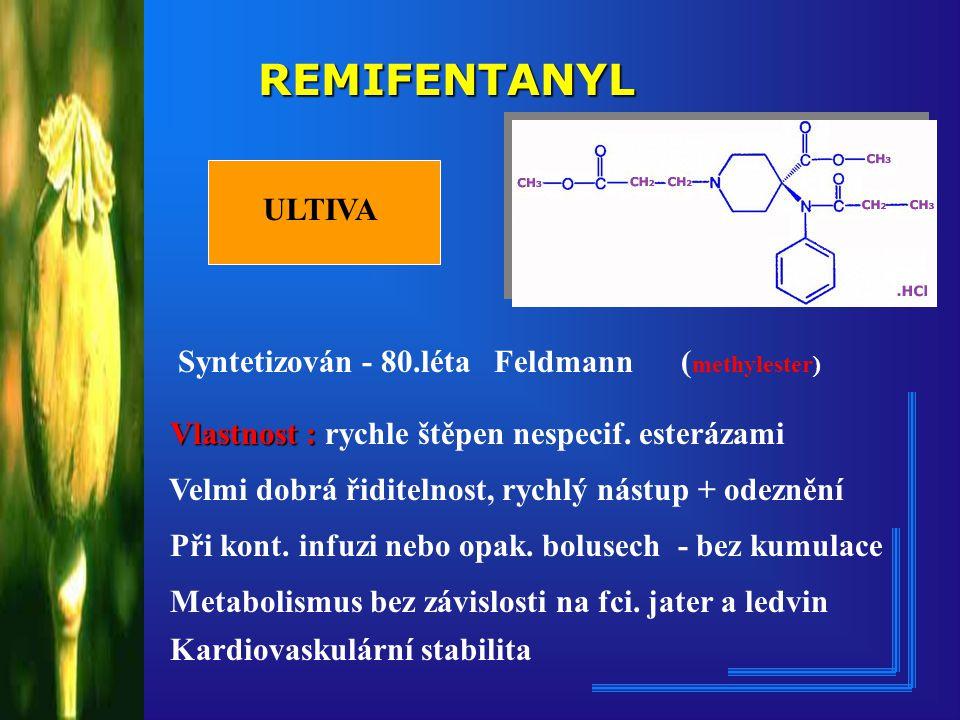 REMIFENTANYL ULTIVA. Syntetizován - 80.léta Feldmann (methylester) Vlastnost : rychle štěpen nespecif. esterázami.