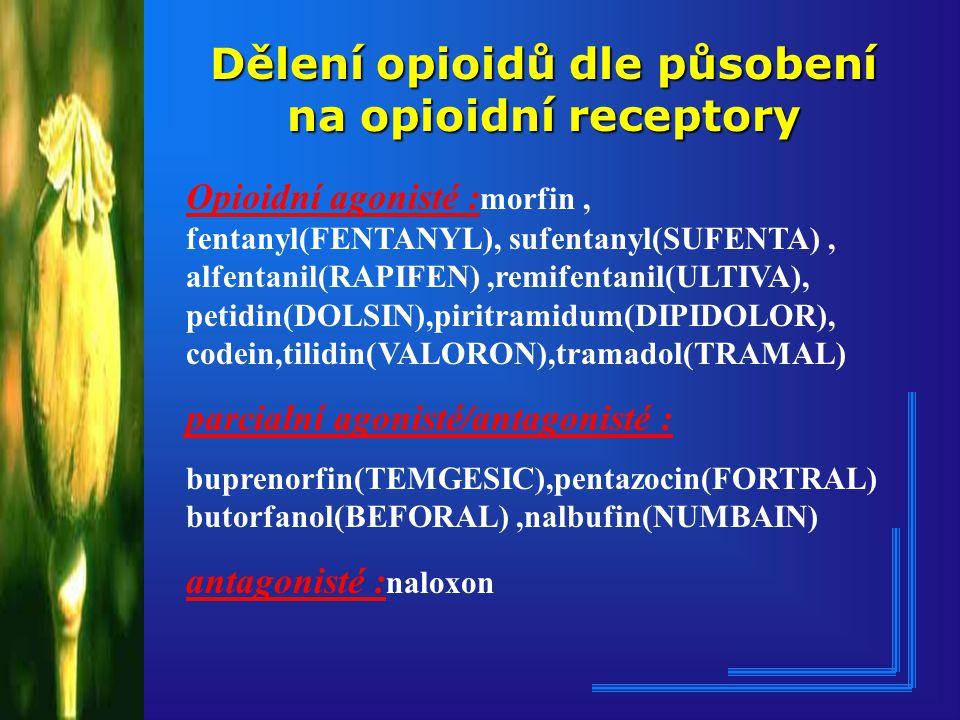 Dělení opioidů dle působení na opioidní receptory