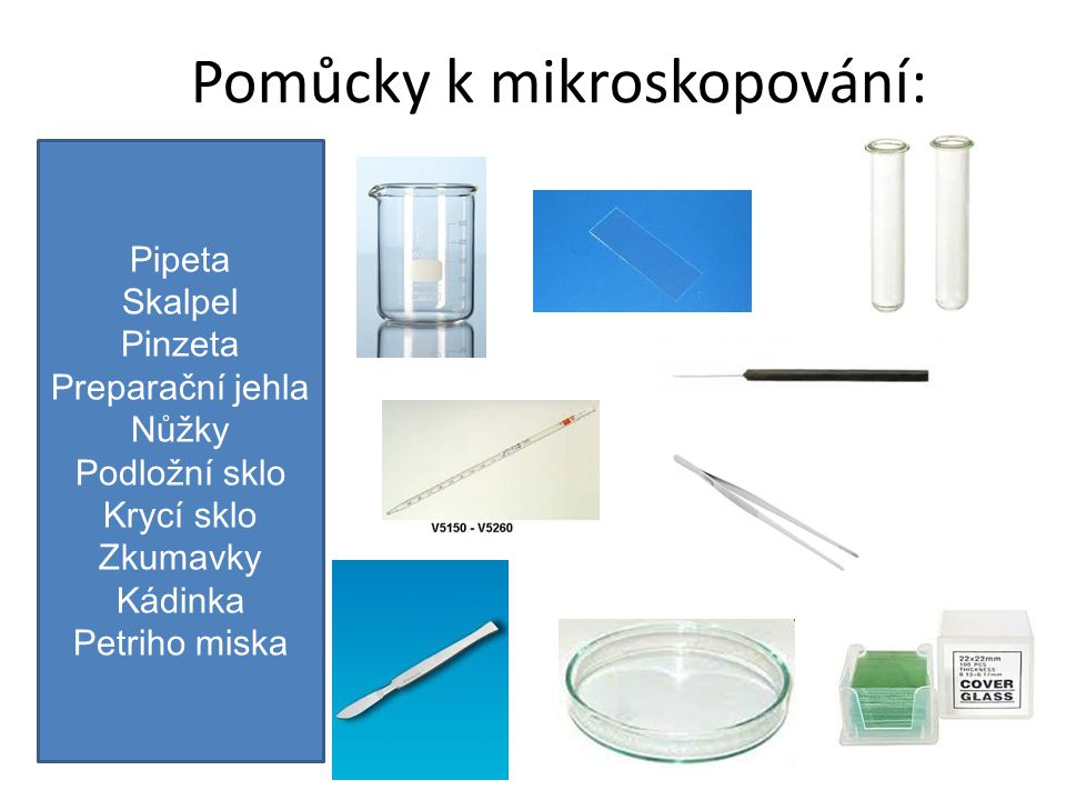 Pomůcky k mikroskopování: