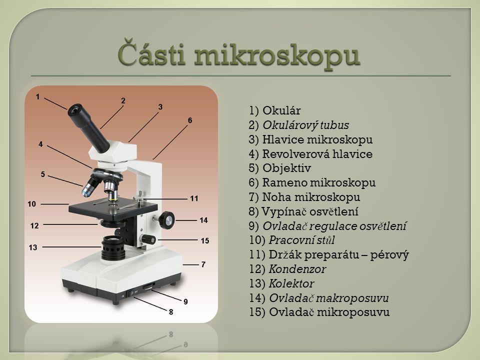 Části mikroskopu 1) Okulár 2) Okulárový tubus 3) Hlavice mikroskopu