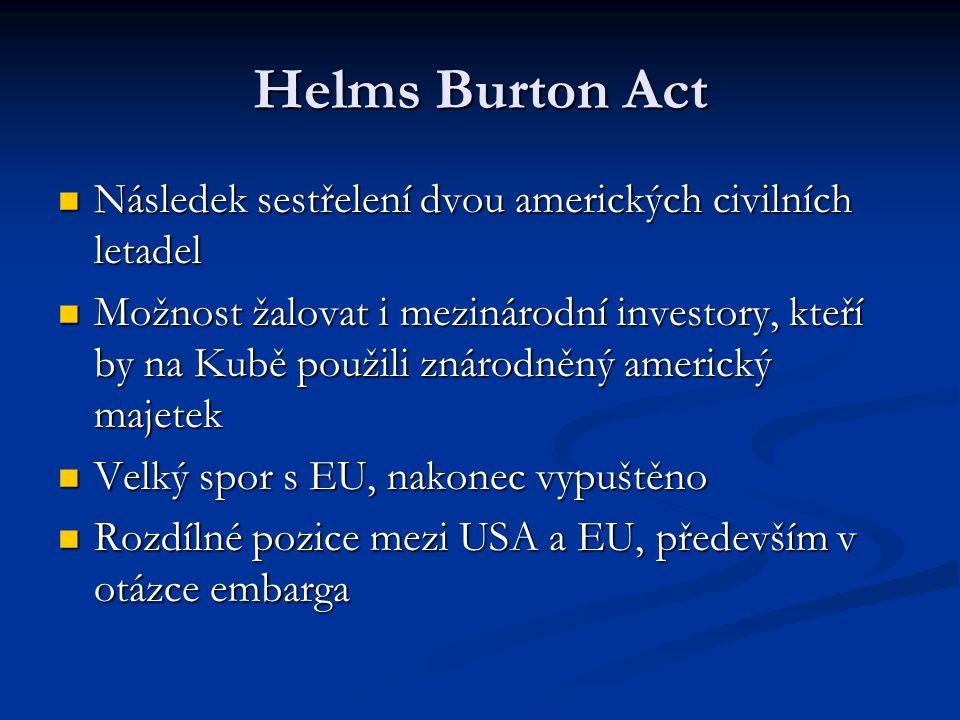 Helms Burton Act Následek sestřelení dvou amerických civilních letadel
