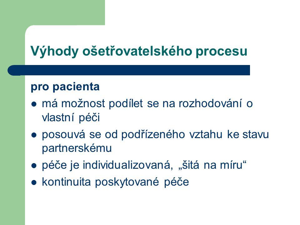 Výhody ošetřovatelského procesu