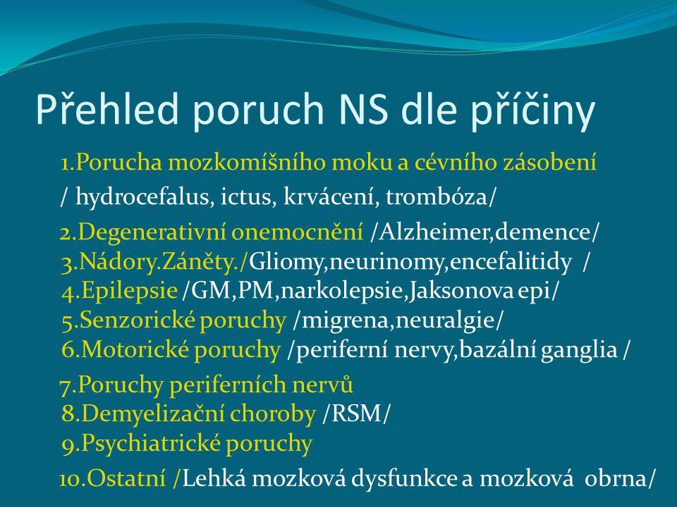 Přehled poruch NS dle příčiny