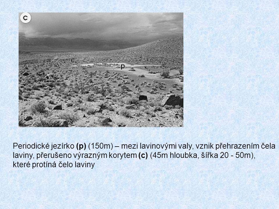 Periodické jezírko (p) (150m) – mezi lavinovými valy, vznik přehrazením čela
