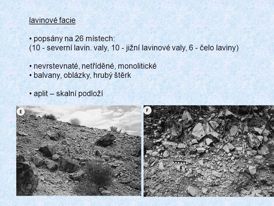 lavinové facie popsány na 26 místech: (10 - severní lavin. valy, 10 - jižní lavinové valy, 6 - čelo laviny)