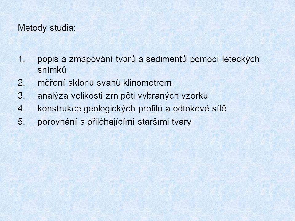 Metody studia: popis a zmapování tvarů a sedimentů pomocí leteckých snímků. měření sklonů svahů klinometrem.