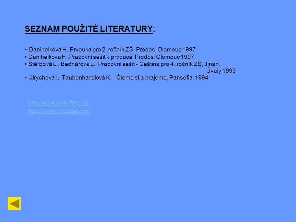 SEZNAM POUŽITÉ LITERATURY: • Danihelková H. ,Prvouka pro 2