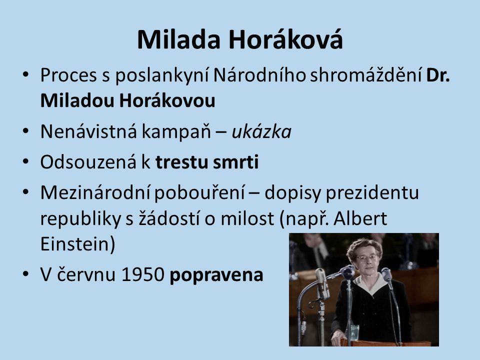 Milada Horáková Proces s poslankyní Národního shromáždění Dr. Miladou Horákovou. Nenávistná kampaň – ukázka.
