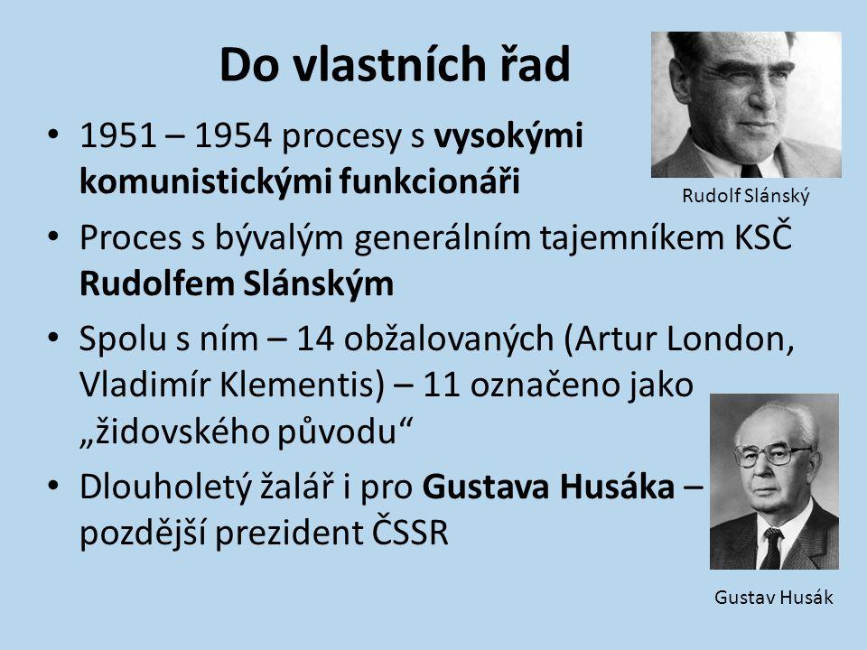 Do vlastních řad 1951 – 1954 procesy s vysokými komunistickými funkcionáři. Proces s bývalým generálním tajemníkem KSČ Rudolfem Slánským.