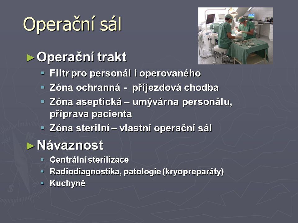 Operační sál Operační trakt Návaznost Filtr pro personál i operovaného
