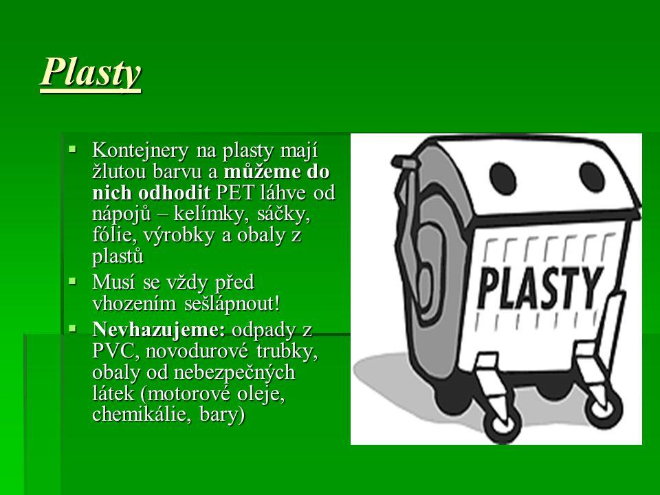 Plasty Kontejnery na plasty mají žlutou barvu a můžeme do nich odhodit PET láhve od nápojů – kelímky, sáčky, fólie, výrobky a obaly z plastů.