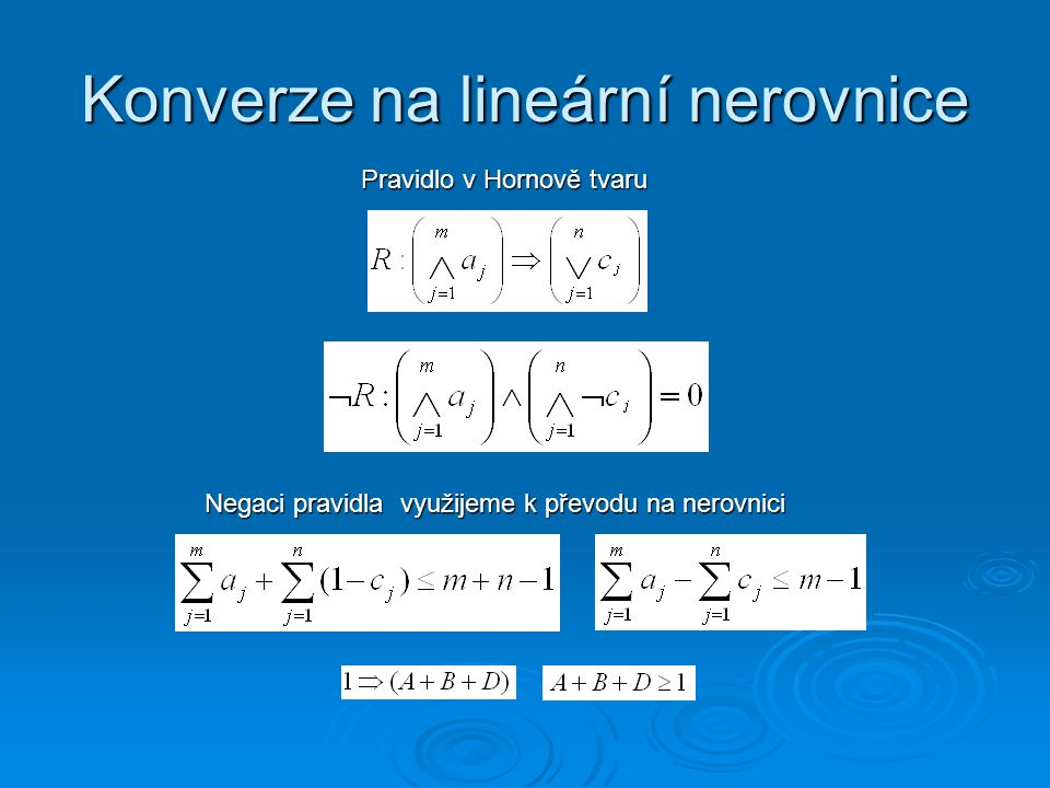 Konverze na lineární nerovnice