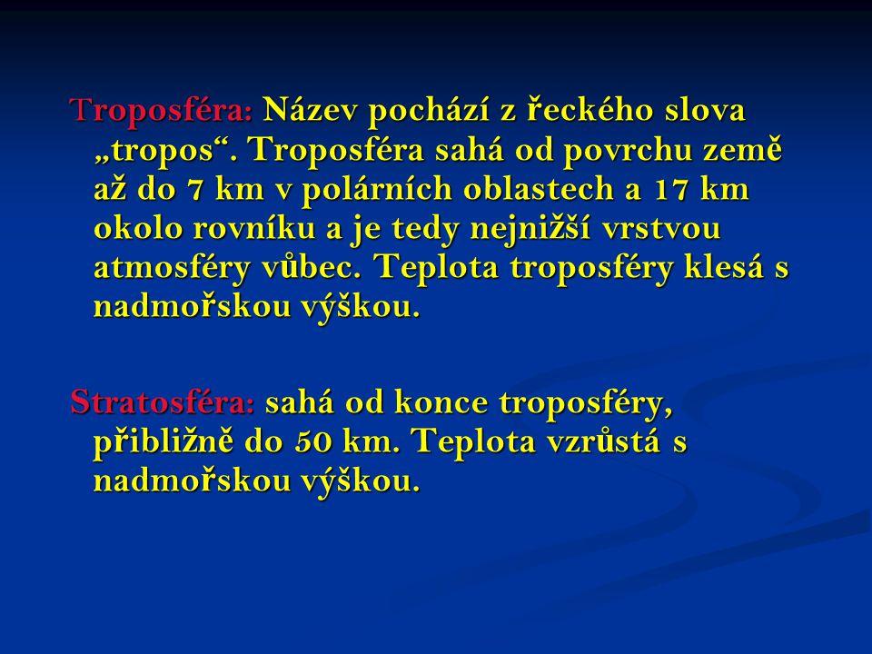 """Troposféra: Název pochází z řeckého slova """"tropos"""