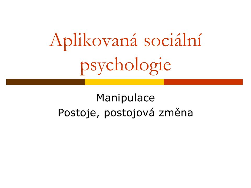 Aplikovaná sociální psychologie