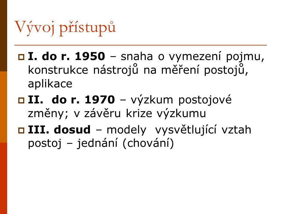 Vývoj přístupů I. do r. 1950 – snaha o vymezení pojmu, konstrukce nástrojů na měření postojů, aplikace.