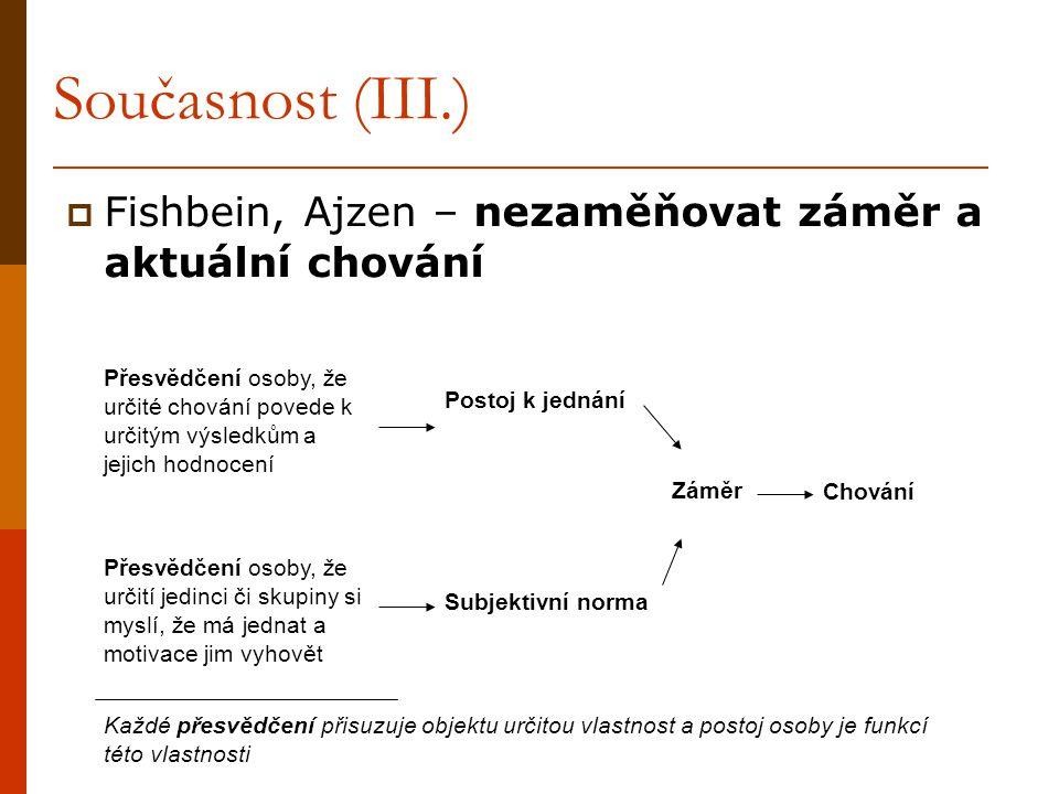 Současnost (III.) Fishbein, Ajzen – nezaměňovat záměr a aktuální chování.