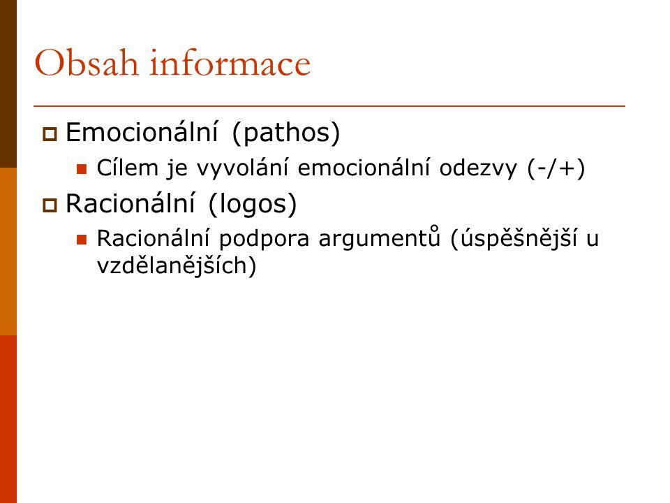 Obsah informace Emocionální (pathos) Racionální (logos)