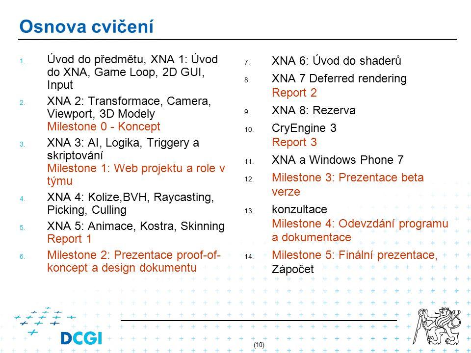 Osnova cvičení Úvod do předmětu, XNA 1: Úvod do XNA, Game Loop, 2D GUI, Input.