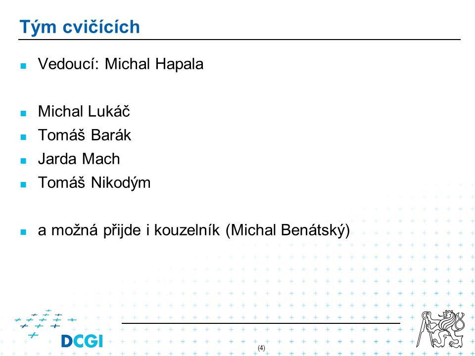 Tým cvičících Vedoucí: Michal Hapala Michal Lukáč Tomáš Barák