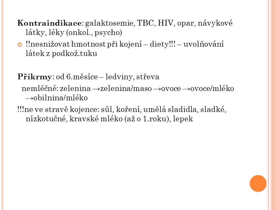 Kontraindikace: galaktosemie, TBC, HIV, opar, návykové látky, léky (onkol., psycho)