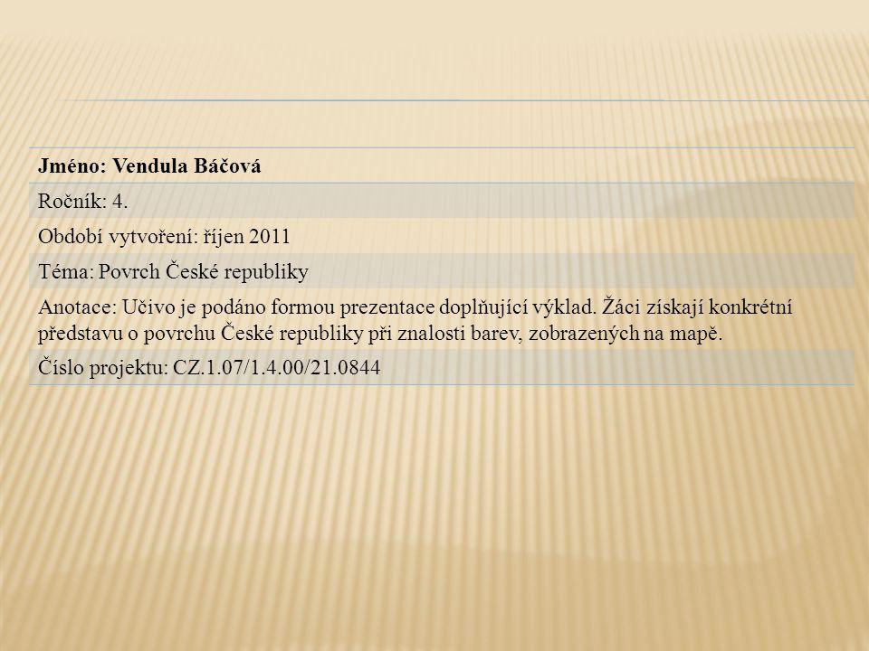 Jméno: Vendula Báčová Ročník: 4. Období vytvoření: říjen 2011. Téma: Povrch České republiky.