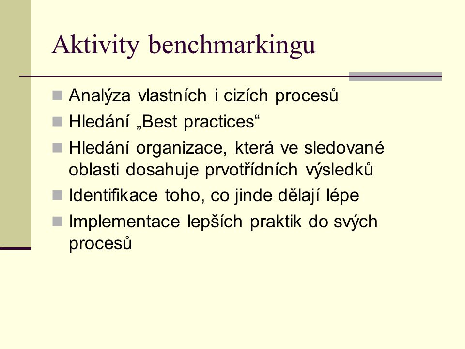 Aktivity benchmarkingu