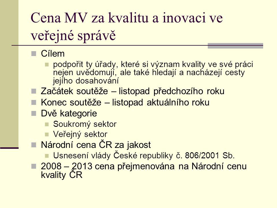 Cena MV za kvalitu a inovaci ve veřejné správě