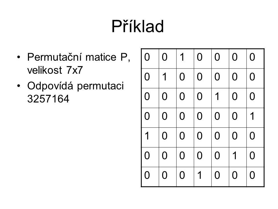 Příklad Permutační matice P, velikost 7x7 Odpovídá permutaci 3257164 1