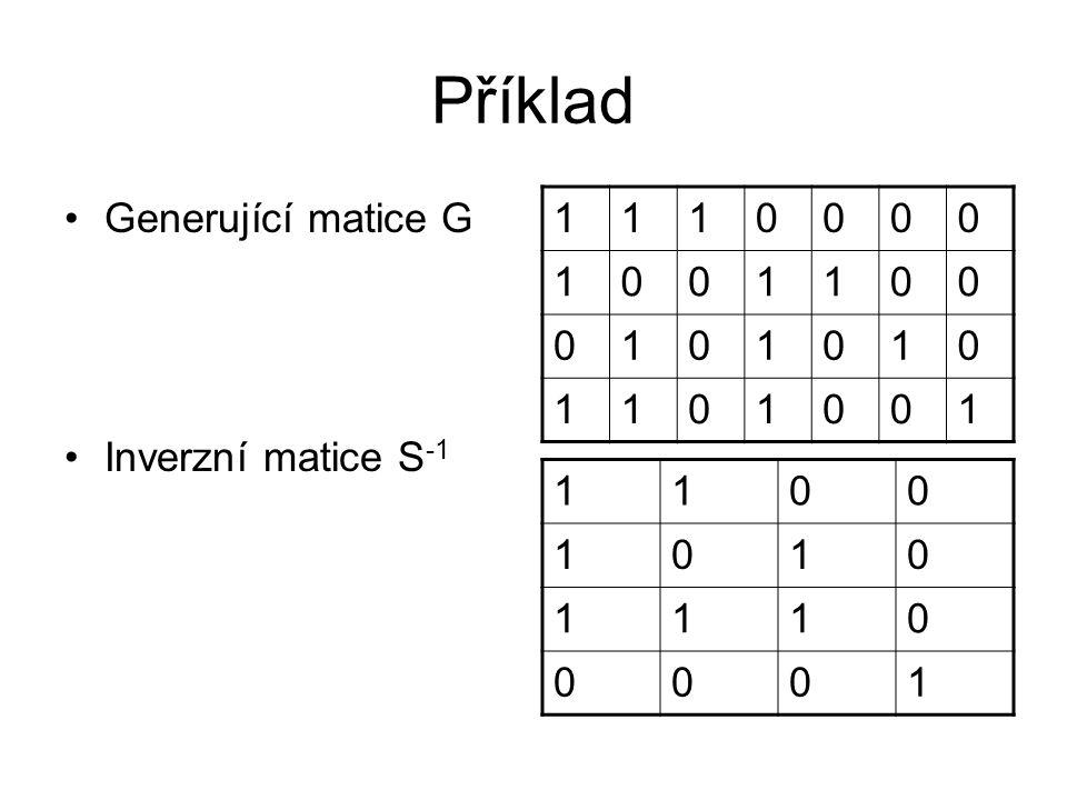 Příklad Generující matice G Inverzní matice S-1 1 1