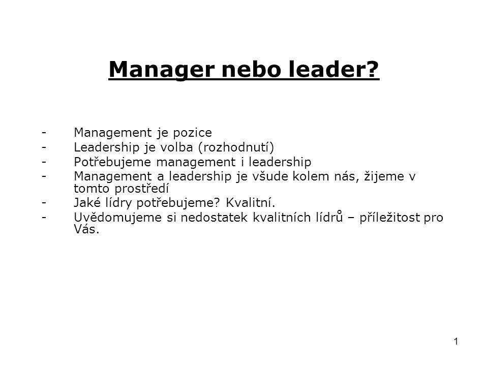 Manager nebo leader Management je pozice