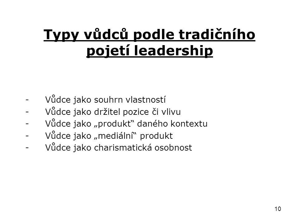Typy vůdců podle tradičního pojetí leadership