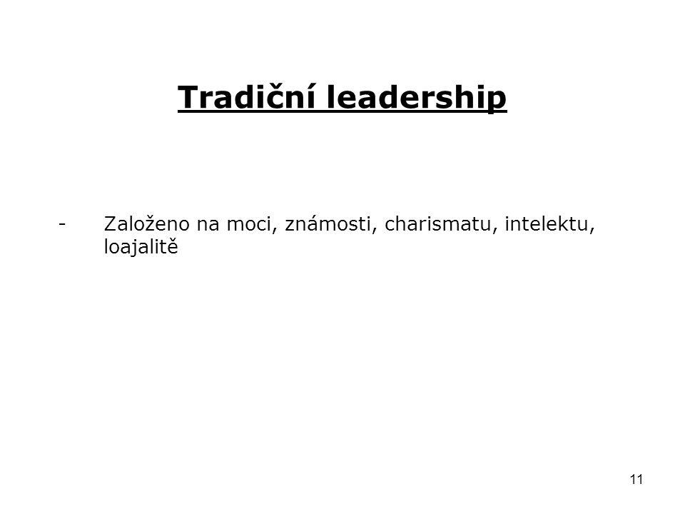 Založeno na moci, známosti, charismatu, intelektu, loajalitě