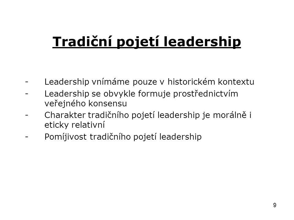 Tradiční pojetí leadership