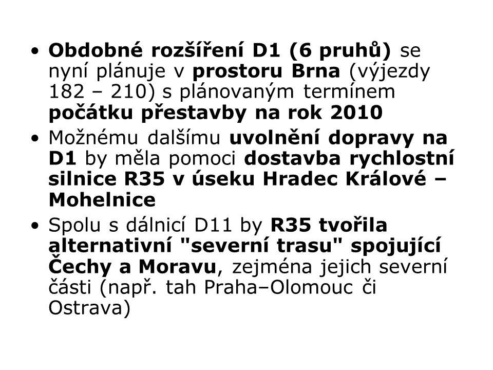 Obdobné rozšíření D1 (6 pruhů) se nyní plánuje v prostoru Brna (výjezdy 182 – 210) s plánovaným termínem počátku přestavby na rok 2010