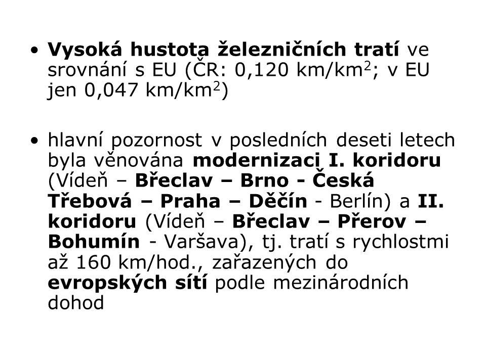 Vysoká hustota železničních tratí ve srovnání s EU (ČR: 0,120 km/km2; v EU jen 0,047 km/km2)