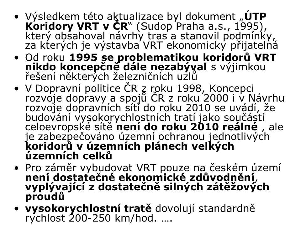 """Výsledkem této aktualizace byl dokument """"ÚTP Koridory VRT v ČR (Sudop Praha a.s., 1995), který obsahoval návrhy tras a stanovil podmínky, za kterých je výstavba VRT ekonomicky přijatelná"""