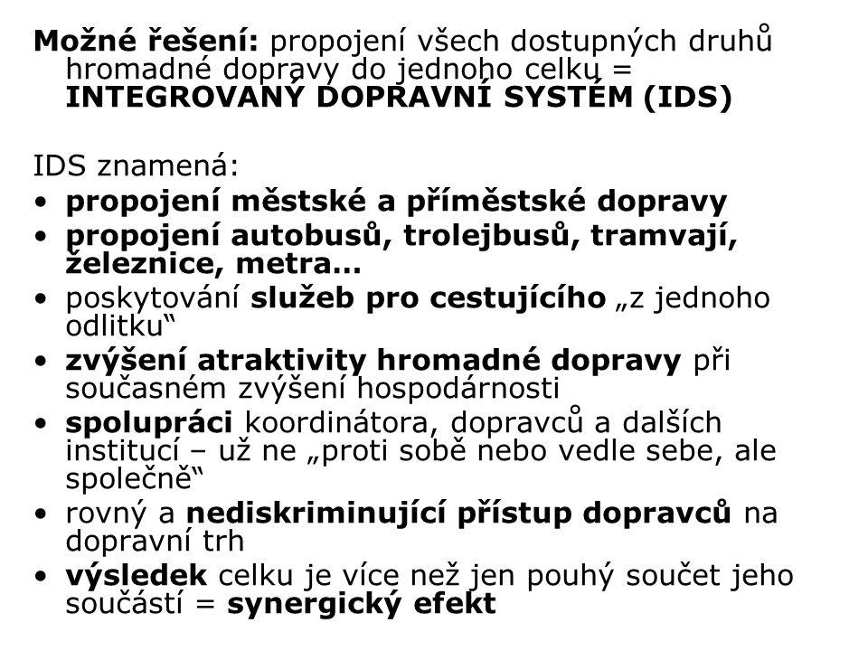 Možné řešení: propojení všech dostupných druhů hromadné dopravy do jednoho celku = INTEGROVANÝ DOPRAVNÍ SYSTÉM (IDS)