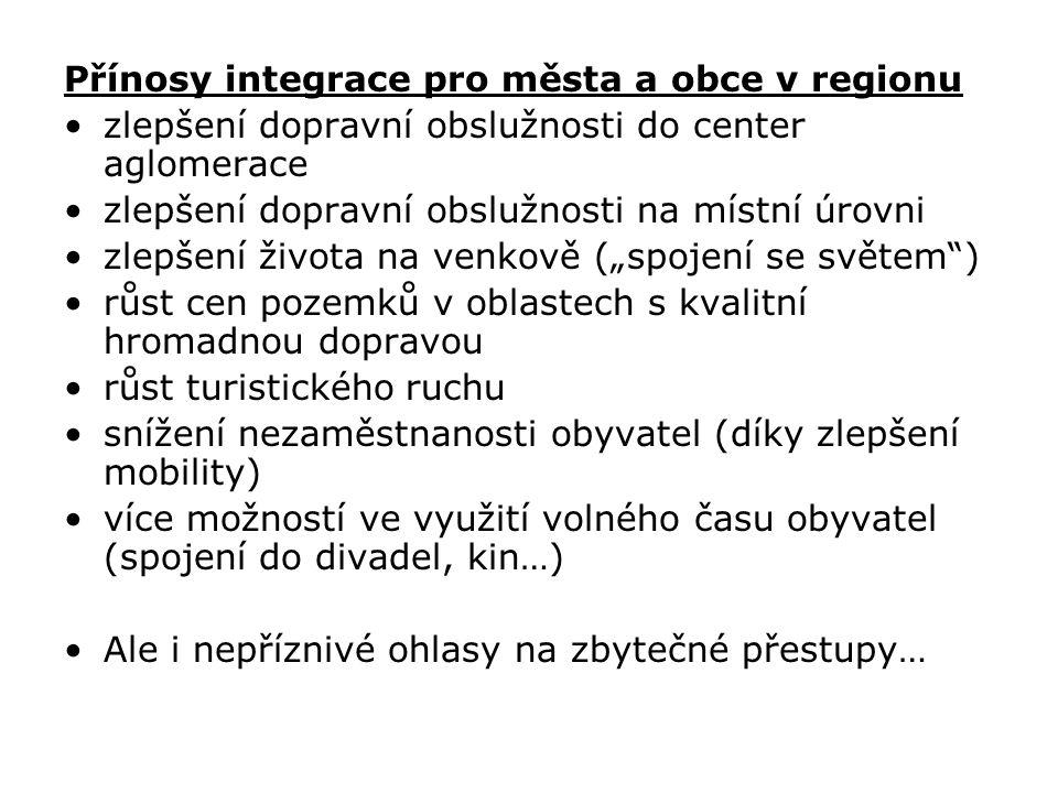 Přínosy integrace pro města a obce v regionu