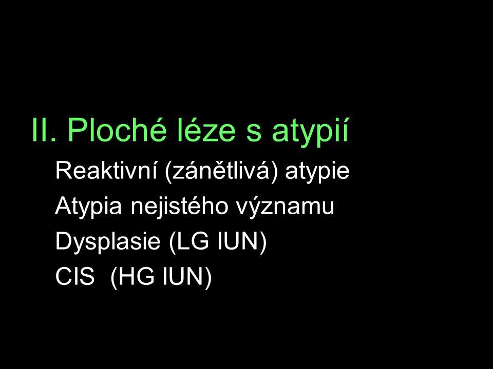 II. Ploché léze s atypií Reaktivní (zánětlivá) atypie